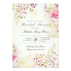 Watercolor Floral Boho Bridal Shower Invite