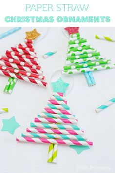 Paper Straw Christmas Tree Ornaments // Simple and inexpensive Christmas craft for kids.
