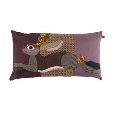 Brighten your home with this elegant Leaping Hare cushion from Carola van Dyke. Set against a purple tone background, this cushion features a running hare design constructed from mixed and matched fab Motifs Applique Laine, Baby Applique, Wool Applique Patterns, Free Motion Embroidery, Machine Embroidery Applique, Country Cushions, Patio Cushions, Scatter Cushions, Motifs D'appliques
