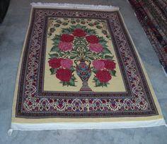 Valentine's Day Gift Persian Rug Qum Wool Rug by ToossiRugGallery