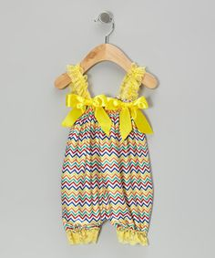 Look at this #zulilyfind! Yellow Zigzag Bubble Romper - Infant by Head over Heels #zulilyfinds