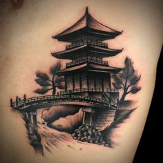 Japanese Temple Tattoo by Kyle MacKenzie Japanese Temple Tattoo, Japanese Mask Tattoo, Japanese Tattoo Designs, Japanese Tattoos, Japanese Drawings, Japanese Art, Buddha Tattoos, Body Art Tattoos, Tattoo Oriental