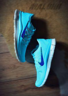 Custom Tiffany Blue Nike Free Run 5.0 With Glitter Tick