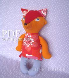 Fox sewing pattern PDF  Stuffed toy Softie Nursery by JoyfulRiver, $7.00