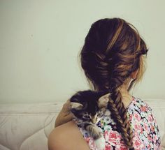 A pretty fishbone braid--I just learned how to do one a few minutes ago. Yay for Google!