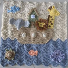 Crocheted Noah's Ark Baby Blanket, how lovely is this for a baby or small child.