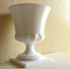 Large Milk Glass Pedestal Vase Compote