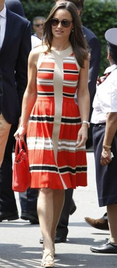 Wimbledon fanatic Pippa Middleton wore a dress by Alice Temperley and a bag by Coach on July 5.