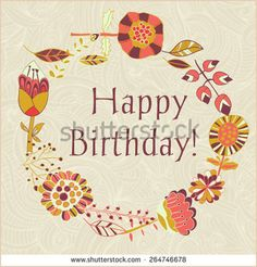 Happy birthday greeting card circle floral frame with cute cartoon flower - Shutterstock