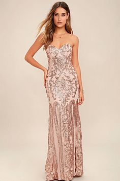 This fast-fashion e-tailer sells some of the cutest dresses online for cheap, with something for every girl. If you're looking to go more laid-back for prom, grab a tea-length dress, and if you want full-on glam, you'll love their all-sequin gowns.   Bariano Rebecca Rose Gold Strapless Maxi Dress, $268, Lulu's