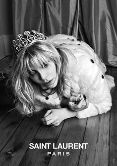 Courtney Love for Saint Laurent Paris #courtneylove #stlaurentparis #ysl #tiara #furcoat #blackandwhite