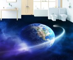 48.98$  Watch here - http://ali6ay.worldwells.pw/go.php?t=32701738451 - 3D floor earth universe custom creative 3d floor pvc self-adhesive murals waterproof wallpaper plastic floor