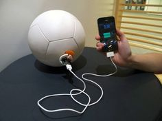 The Soccket is a soccer ball that harnesses energy. Yes, you can charge your phone!