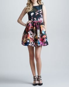 Hazy Garden Silk Faille Fit & Flare Dress, Rose by RED Valentino at Neiman Marcus.