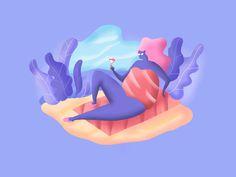 Dribbble Illustration - Beach time by Jacek Janiczak