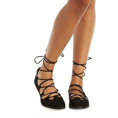 Charlotte Russe Black Qupid Crisscross Lace-Up Round Toe Flats by... ($28) ❤ liked on Polyvore featuring shoes, flats, black, black flats, lace up flats, lace up shoes, round cap and flat pumps