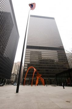 Federal Center in Chicago; Building designed by Mies van der Rohe, sculpture is Flamingo by Alexander Calder.