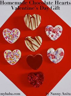 Make some simple homemade chocolate hearts to hand out to friends and family this Valentine's day. Chocolate Buttons, Chocolate Sprinkles, Chocolate Hearts, Chocolate Bark, Melting Chocolate, White Chocolate, Make Your Own Chocolate, Types Of Chocolate, Homemade Chocolate