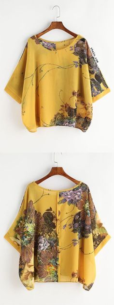 Yellow Florals Bell Sleeve- Button Back Blouse