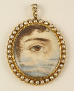"Mourning Eye Pendant, gold and pearls with diamond ""tear"", lock of brown hair encased on reverse, c 1800 Eye Jewelry, Enamel Jewelry, Jewelry Art, Antique Jewelry, Vintage Jewelry, Jewellery, Mourning Jewelry, Mourning Ring, Lovers Eyes"
