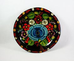 Vintage Hand Painted Wood Mexican Batea Bowl. $20.00, via Etsy.