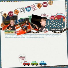 Like the banner with signs ~ use for travel pages ~ Free Digital Scrapbooking Templates, Layout sketches and Page Maps