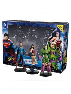 """Coffret collector en édition limitée et numéroté de 3 grandes figurines en résine de Wonder Woman, Superman et Lex Luthor dans leurs versions """"New 52""""."""