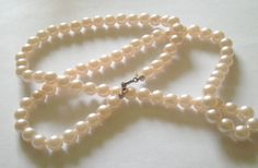 Necklace Vintage Faux Pink Pearl Necklace by carriesattic on Etsy, $15.00
