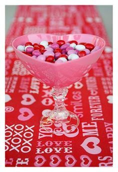 Valentine Candy Dishes.   Put a dollar store candlestick and bowl together.