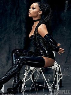 Zoe Kravitz in latex and boots