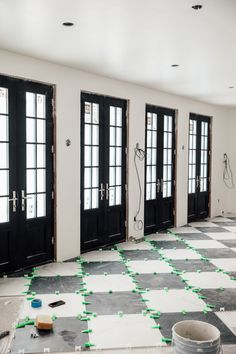 All the Details About the Stone Checkerboard Floors In The Dining Room–They're Finished! Stone Flooring, Kitchen Flooring, Maison Tudor, Hot Tub Room, Checkerboard Floor, Floor Patterns, Room Doors, Interior Decorating, Building A House