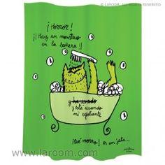 """Laroom - Cortina baño """"monstruo"""" verde polyester - Laroom diseña los productos para Baño más bonitos del mundo - www.laroom.com (producto diseñado y fabricado por Laroom con ilustración de anna llenas) Monsters, Anna, The World, Green Monsters, Bathroom Window Curtains, Fabric Dolls, Colors, Tin Cans, Products"""