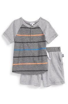 Splendid Stripe Henley Top & Shorts Set (Baby Boys)