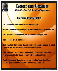 Re-Thinking Homosexuality in Light of God's Original Intent For Humanity. Genesis 1:28