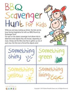 BBQ Games: Scavenger Hunt For Kids, $3.95
