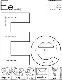 Alphabet Letter E Worksheet Standard Block Font Preschool Printable Activity Early Letter E Activities, Letter E Worksheets, Preschool Letters, Free Preschool, Learning Letters, Preschool Worksheets, Preschool Learning, In Kindergarten, Preschool Activities