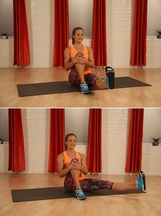 Sit with your legs extended in front of you. Bend your right knee and clasp your shin with both hands. Flex your left foot and lift it a few...