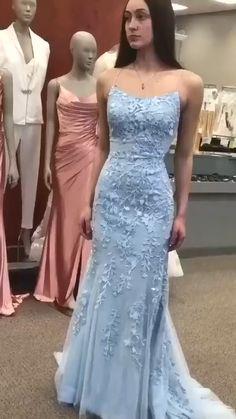 Mermaid Prom Dresses Lace, Backless Prom Dresses, Beautiful Prom Dresses, Prom Dresses Blue, Dance Dresses, Homecoming Dresses, Sexy Dresses, Lace Mermaid, Dress Prom