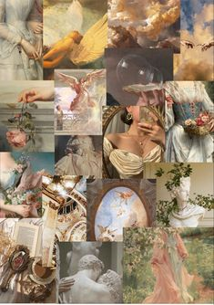 Photo Wall Collage, Photo Wall Art, Wall Art Collages, Montage Art, Ange Demon, Aesthetic Collage, Renaissance Art, Aesthetic Iphone Wallpaper, Cherubs