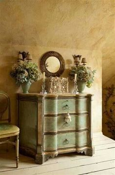 love all of this... wall color, dresser, vignette... for master bed
