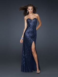 Sheath/Column Sweetheart Sleeveless Elastic Woven Satin Prom Dresses/Evening Dress With Sequins #FK810