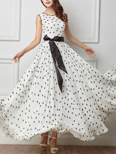 Buy e Dresses, Cute Dresses Polka Dot Maxi Dresses, Cheap Maxi Dresses, Modest Dresses, Dot Dress, Simple Dresses, Pretty Dresses, Indian Gowns Dresses, Evening Dresses, Chiffon Dress Long
