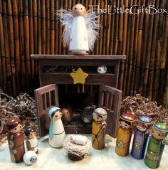 The Little Gift Box » Christmas Nativity Wood Peg Doll Set