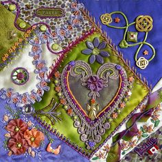 ❤ =^..^= ❤    Allie's in Stitches: Purple Hearts Hospital Quilt...Assembly Beginning | Leonie Hartley-Hoover's exquisite work