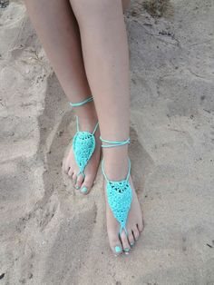 Barefoot sandals #crochet pattern for sale from Little Treasures; as the weather gets warmer you can wear these with heels for a great decorative look!