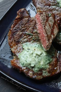 Grilled Ribeye Steaks with Gorgonzola Butter - because butter makes everything better!  #steakover
