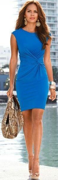 blue dress closet ideas women fashion outfit clothing style Love the colour: Pretty Dresses, Beautiful Dresses, Gorgeous Dress, Dress Skirt, Dress Up, Sheath Dress, Wrap Dress, Dress Robes, Chic Dress