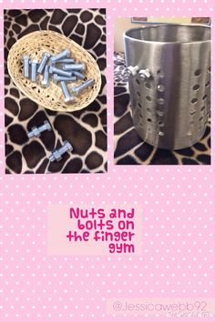 funky fingers. finger gym. fine motor skills. Exploring nuts and bolts on the finger gym.