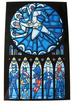 Batman, Nightwing, Batgirl, Robin, Alfred and Red Hood.  In stained glass.
