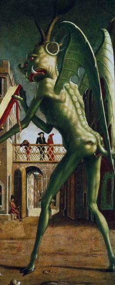 Micheal Pacher Groen: afgunst, reptielen, feeën, elfen. De duivel in zijn groene jas. Op dit fragment dwingt de Heilige Augustinus het misboek op te houden. Let op de ogen in de billen. Op de achtergrond een gewoon Alpenstadje. De duivel lijkt op een mix tussen mens en draak. Kijk goed naar hoorns, vleugels, en de bijzondere neus op het tweede gezicht.